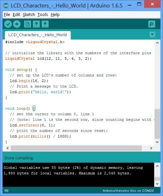 Arduino Script - LCD Hello World